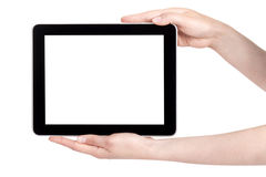 Hand Holding Digital Tablet. Hands of a woman holding digital tablet displaying a white screen stock photos