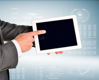 Hand holding digital tablet pc Stock Photography
