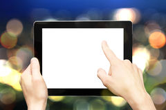 Hand holding digital tablet Stock Image