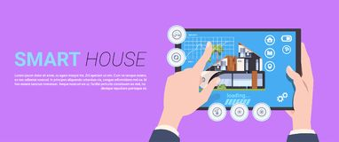 Hand Holding Digital Tablet With Smart Home Control And Administration System Interface Concept Template Background. Flat Vector Illustration Royalty Free Stock Images