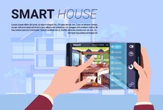 Hand Holding Digital Tablet With Smart Home Interface, Modern Technology Of House Automation Concept. Flat Vector Illustration Stock Photo