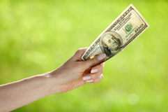 Hand holding dollar banknote Stock Photo