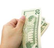 Hand holding dollar bill . Royalty Free Stock Photo