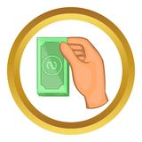 Hand holding dollar bills vector icon. In golden circle, cartoon style isolated on white background Stock Images
