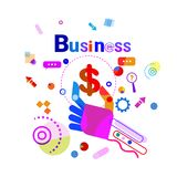 Hand Holding Dollar Business Financial Success Concept Banner. Vector Illustration Royalty Free Stock Image