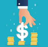 Hand holding dollar icon on coin graph, business concept illustration. EPS 10 Stock Photography