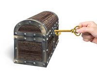 Hand holding dollar sign key open treasure chest. Hand holding dollar sign key to open the treasure chest, isolated on white background Stock Images