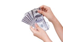 Hand holding dollars. Royalty Free Stock Photography