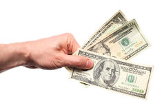 Hand holding dollars Stock Photography