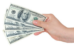 Hand holding 100 dollars banknotes Royalty Free Stock Photos