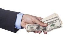 Hand Holding Dollars Stock Photo
