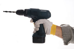 Hand holding drilling machine Royalty Free Stock Photography