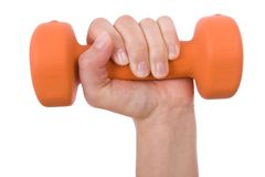 Hand holding a dumbbell Stock Photography