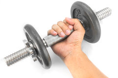 Hand holding dumbbell. On white background Stock Photography