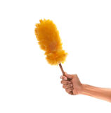 Hand holding dust brush isolated white background Royalty Free Stock Photo