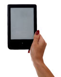 Hand holding e-book reader  on white background Stock Images