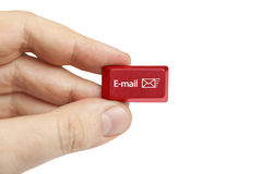 Hand holding e-mail computer key Stock Images