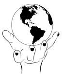 Hand holding Earth. Vector picture of hand holding earth stock illustration