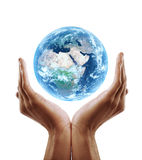 Hand holding earth Stock Photo