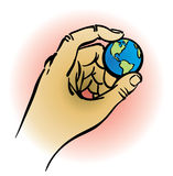 Hand holding earth. An illustration of a hand holding a small globe Royalty Free Stock Images