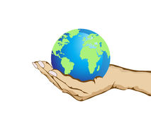 Hand holding the earth. Isoalted hand holding the earth on white background Royalty Free Stock Photography