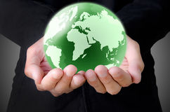 Hand holding the earth Stock Photography