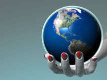 Hand holding Earth - America Royalty Free Stock Photos