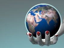 Hand holding Earth_Europe & Africa Royalty Free Stock Images