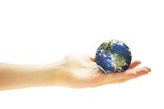 Hand holding Earth globe Stock Image