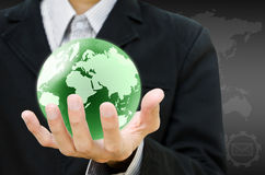 Hand holding the earth globe. Stock Image