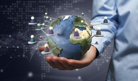Hand holding earth globe royalty free stock photo
