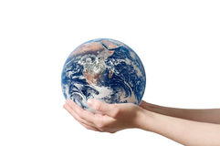 Hand holding earth isolated Stock Photography