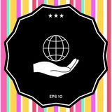 Hand holding Earth. Protect icon. Signs and symbols - graphic elements for your design Royalty Free Stock Image
