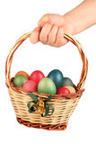 Hand Holding Easter Basket Filled Colored Eggs Royalty Free Stock Photos