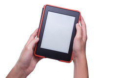 Hand holding ebook reader Stock Images