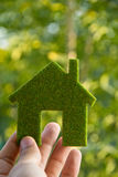 Hand Holding Eco House Icon Stock Images