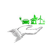 Hand holding eco icon set. Sketch, vector illustration Royalty Free Stock Photo