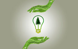 Hand holding eco light bulb energy concept Stock Photography
