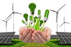 Hand holding eco lightbulbs. Stock Photos
