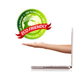 Hand holding ecofriendly sign Royalty Free Stock Photos