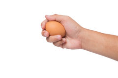 Hand holding an egg isolated on white Royalty Free Stock Photo