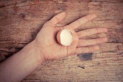 Hand holding an egg shell Stock Photography