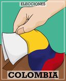 Hand with Electoral Card and Box, Promoting Colombian Elections, Vector Illustration. Hand holding electoral card and tricolor flag over the box to promote the Royalty Free Stock Photo