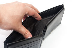 Hand holding an empty black wallet Stock Photos