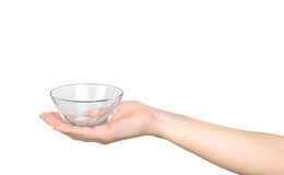 Hand holding an empty bowl Stock Images