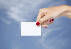Hand holding an empty business card Stock Photo