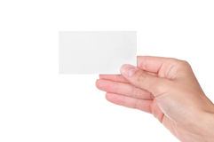 Hand holding an empty business card Stock Photos