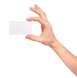 Hand holding an empty business card Stock Images