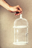 Hand holding an empty cage. Absence of ideas and dreams. Freedom and hope. Stock Photo