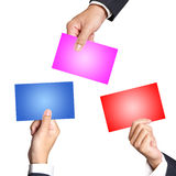Hand holding an empty Color business card Stock Photo